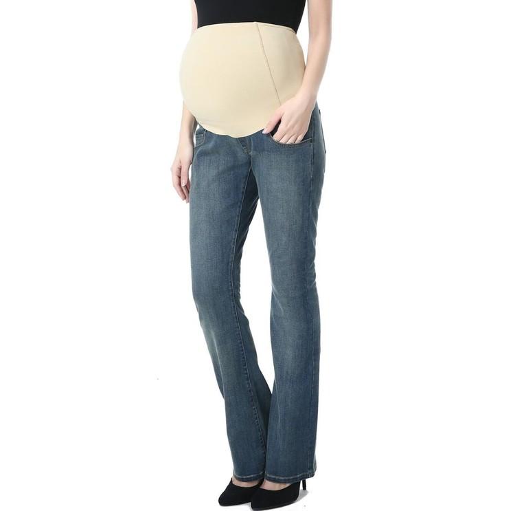 Denim jeans med boot cut ben och mudd över magen