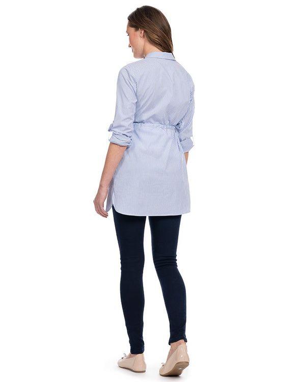 Hermia - blårandig gravidskjorta