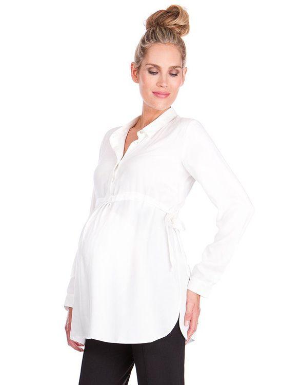 Vit gravidskjorta visad från sidan