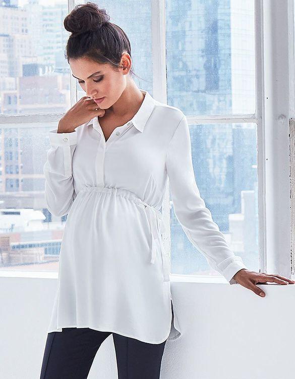Vit gravidskjorta zoomad