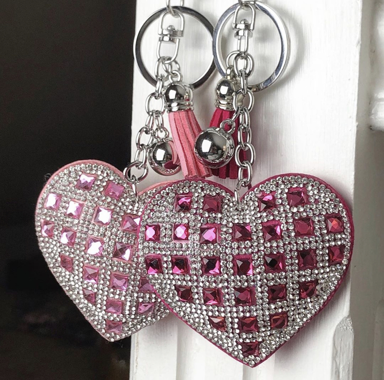 Hjärtnyckelring   Ljusrosa