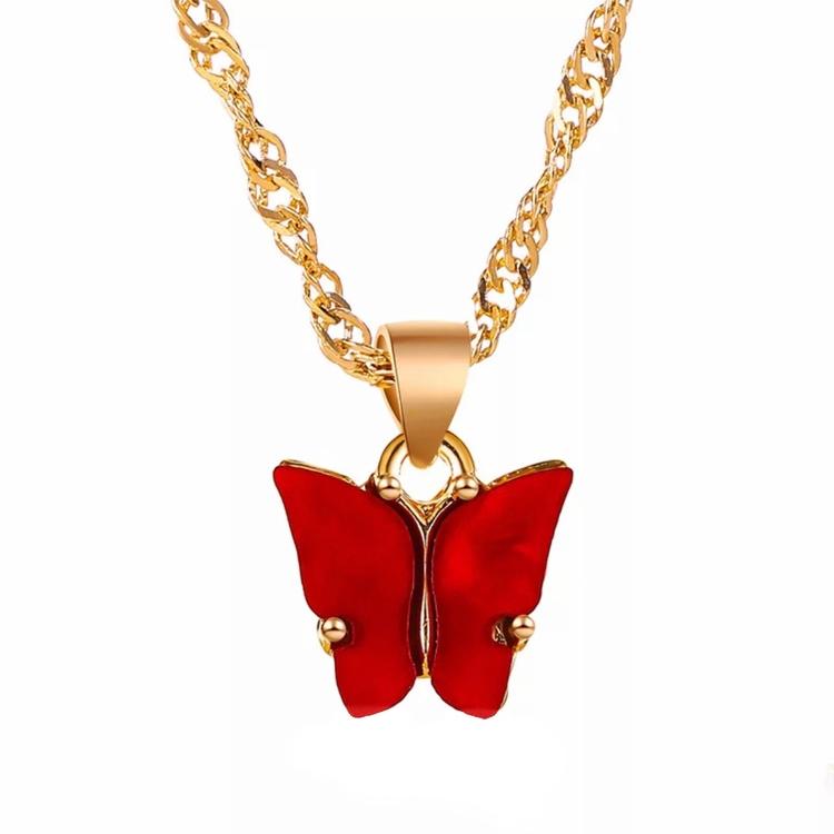 Fjärilshalsband | Röd