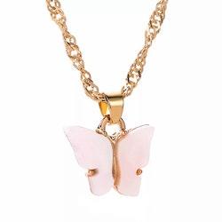Fjärilshalsband | Ljusrosa