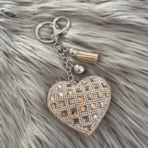 Hjärtnyckelring | Beige