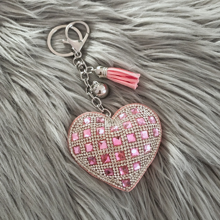 Hjärtnyckelring | Ljusrosa