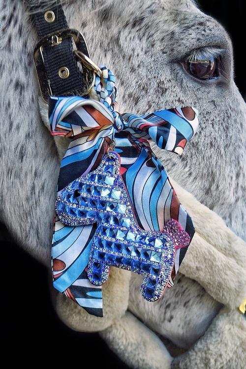 Hästnyckelring   Blå