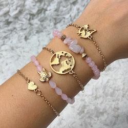 Lyckoarmband |Guld/Ljusrosa