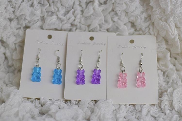 3-pack Örhängen   Gummibjörn Rosa/Lila/Blå