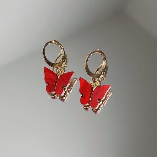 Fjärilsörhängen | Röd