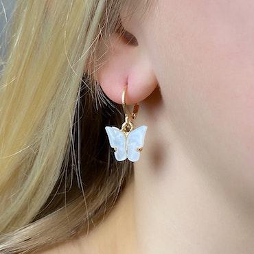 Fjärilsörhängen | Vit