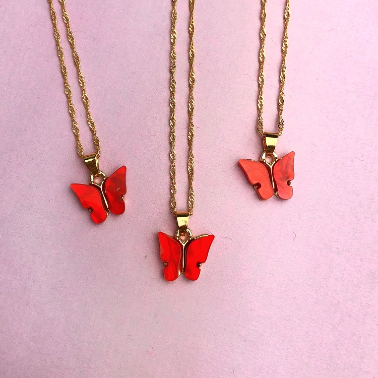 Fjärilshalsband - Röd