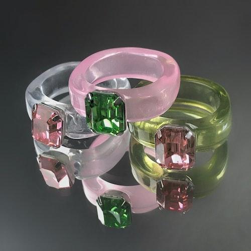 3-pack Ringar | Grön/Rosa/Transparent