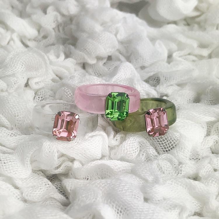 3-pack Ringar   Grön/Rosa/Transparent