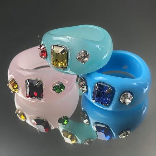 3-pack Ringar | Blå/Ljusblå/Rosa
