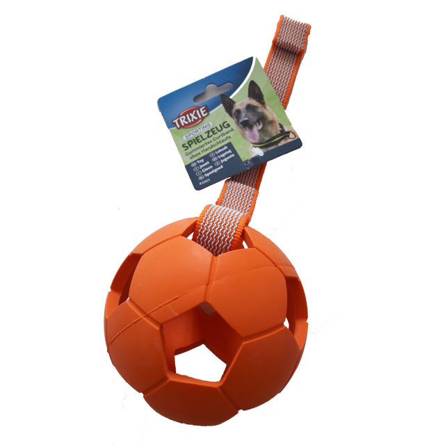 Trixie, sportingboll m. band, 11cm