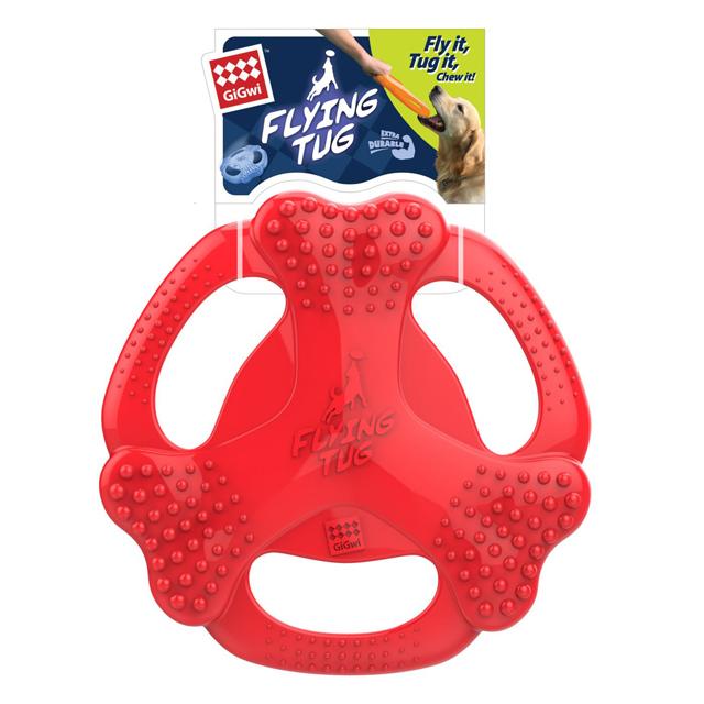 GiGwi, flying tug freesbee, 24cm, röd