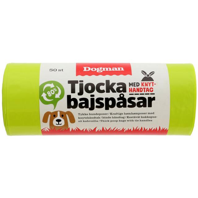 Dogman, bajspåsar m. knythandtag, 50-pack