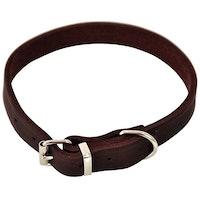 Dogman, läderhalsband, brun
