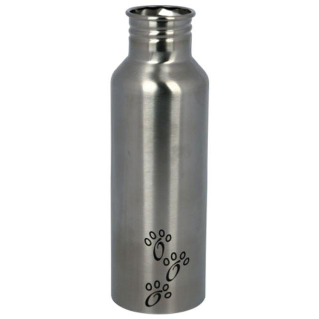 Trixie, rostfri flaska m. skål, 0,75L