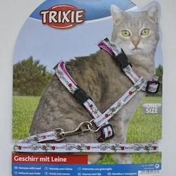 Trixie, kattsele m. koppel, 26-45cm
