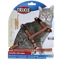 Trixie, kattsele m. koppel, 27-44cm, brun