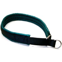 Alac, nomehalsband, svart m. grön satinfoder, 55cm