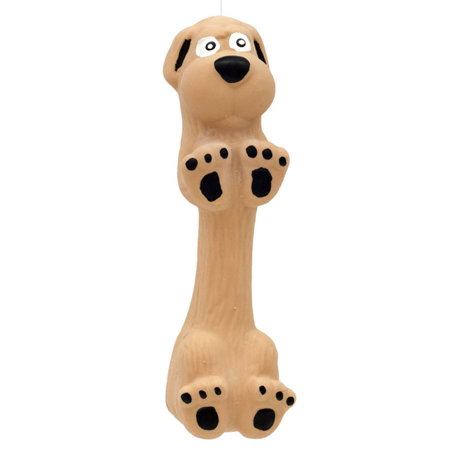Dogman, latexhund m. pipljud, 13cm, gul