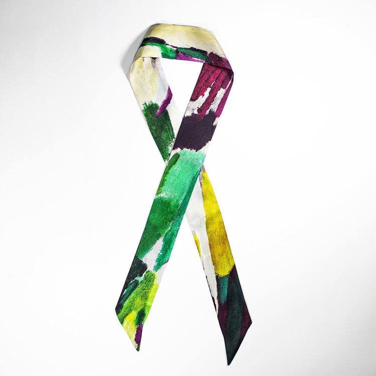 Twilly scarfette med grön, gul och lila mönster