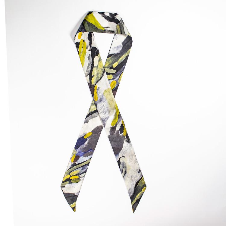 Twilly scarfette i gul och blå av en konstverk