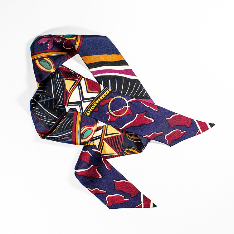 Twilly scarfette röd, blå och gula färger