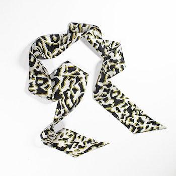 Zhi Zulu Leopard Ebony Ivory siden twilly-scarf