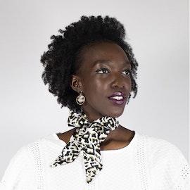 Zhi Zulu Leopard Ebony Ivory siden twilly scarf