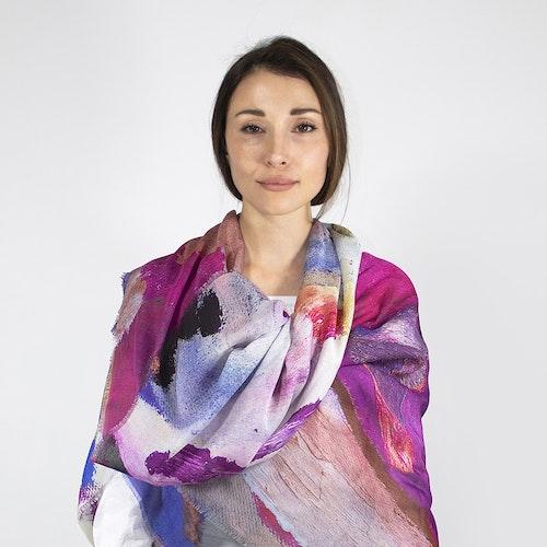 Lucy Jane Turpin plommonfärgad modal- och sidenscarf