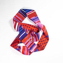 Faatimah Mohamed-Luke Geometric Stripe siden twilly scarf