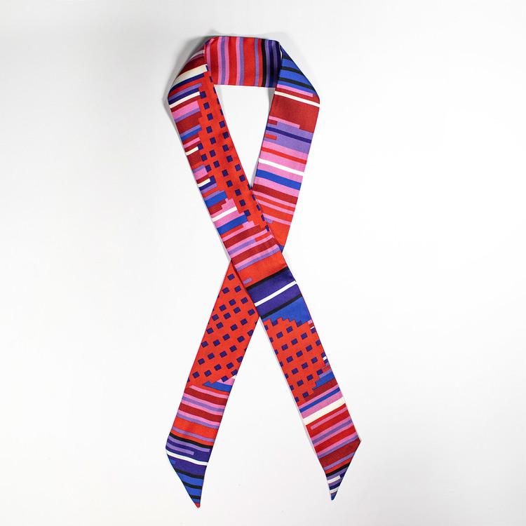 Twilly scarfette i rosa, blå och röd