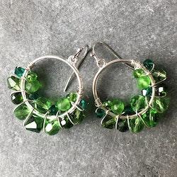 Drottning runda örhängen silver & grön