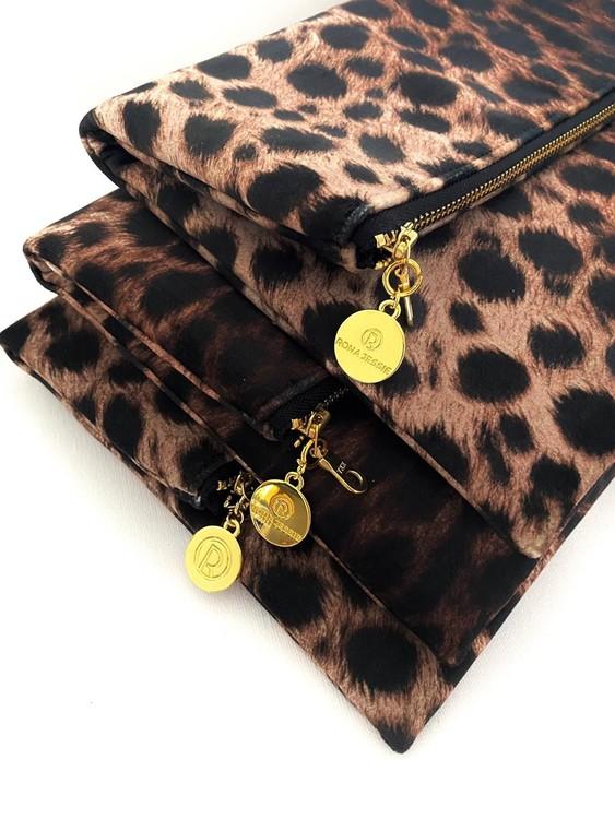 Leopardmönster kuvertväskor i sammet