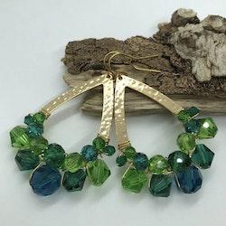 Drottning örhängen guld & grön/blå