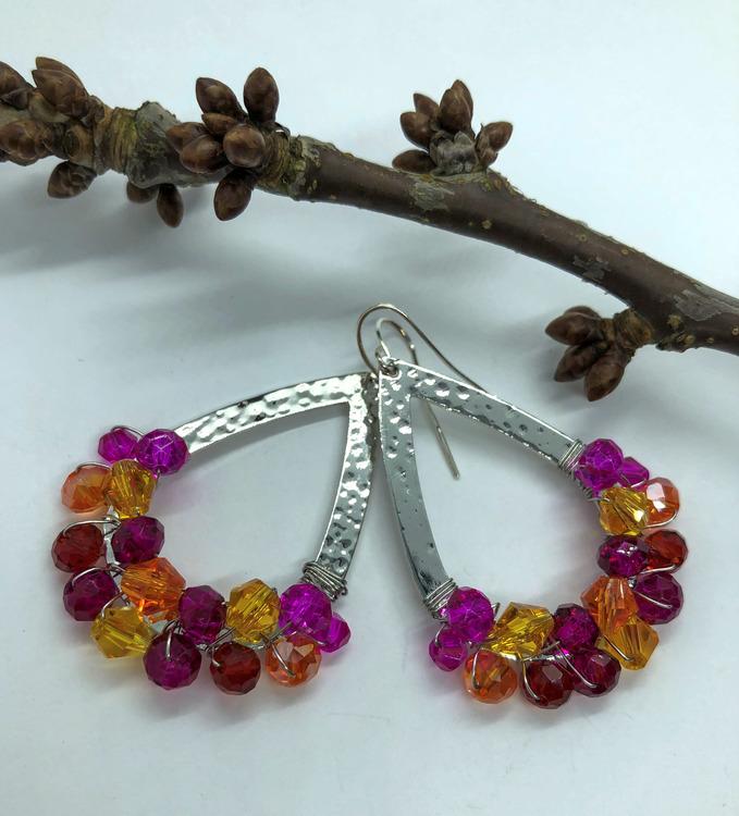 Drottning örhängen silver & rosa/röd/orange