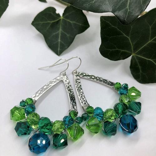 Drottning örhängen silver & grön/blå