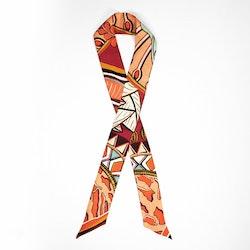 Zhi Zulu Matriarch Coral siden twilly scarf