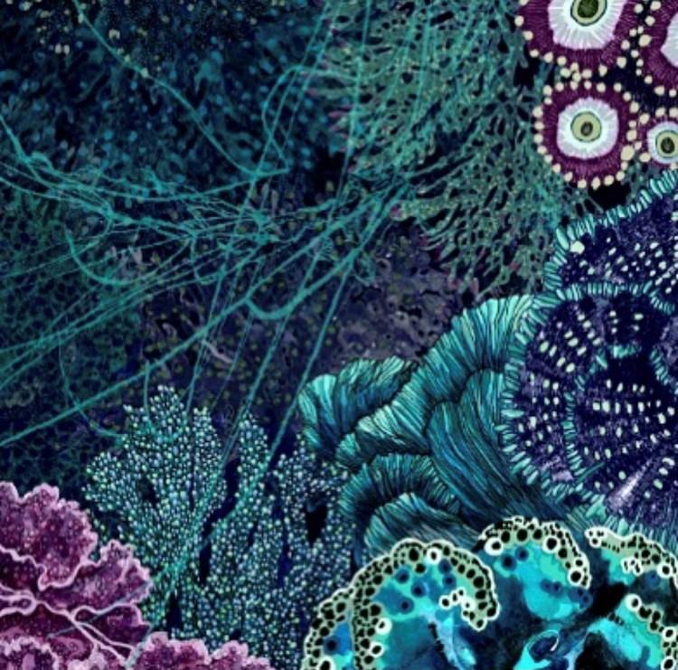 Twilly scarfette med blåa toner av en konstverk