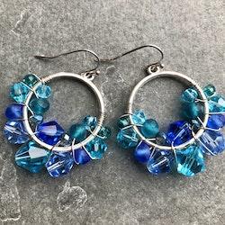 Drottning runda örhängen silver & blå