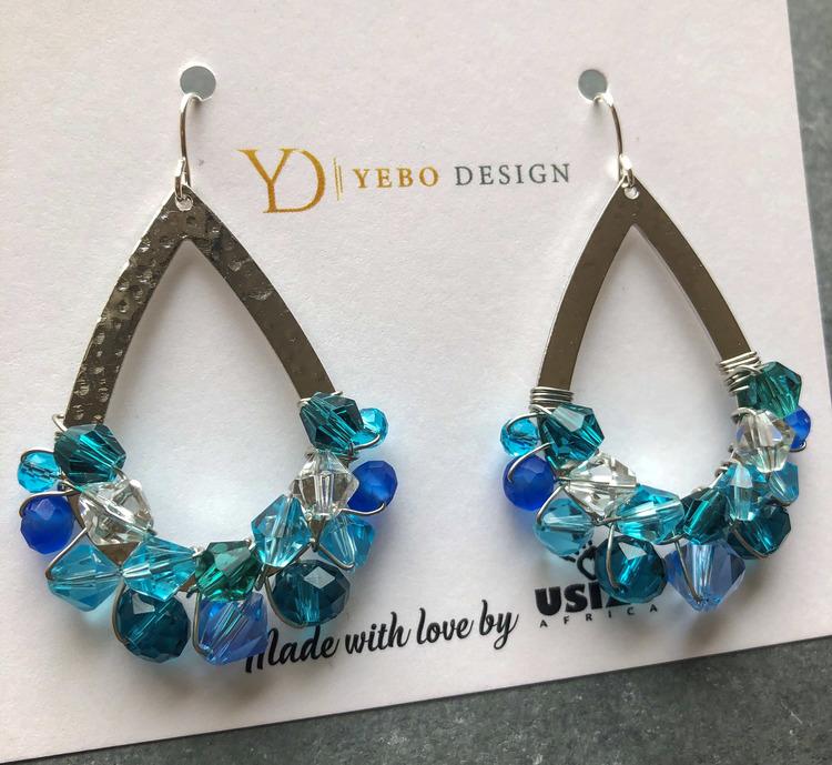 Drottning örhängen silver & blå