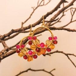 Drottning runda örhängen guld & rosa/röd/orange