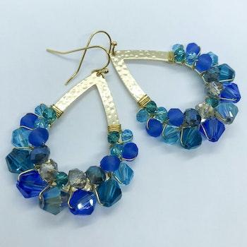 Drottning örhängen guld & blå