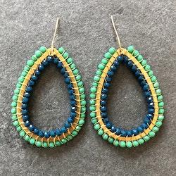 Duo teardrop örhängen blå & tealgrön