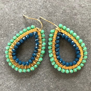 Duo teardrop örhängen blå & tealgrön mini
