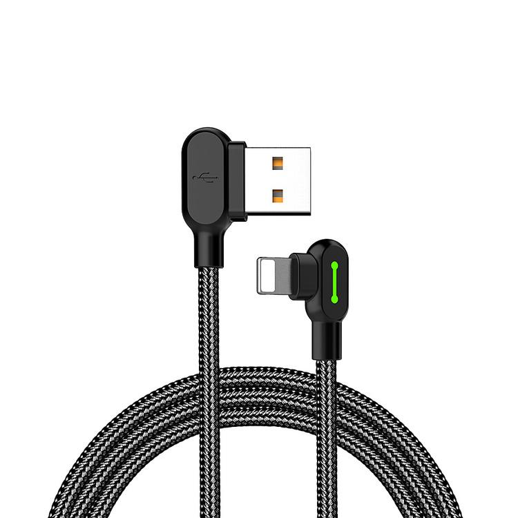 McDodo CA‑4674 Vinklad Lightning kabel, LED, 2A, 0.5m, svart