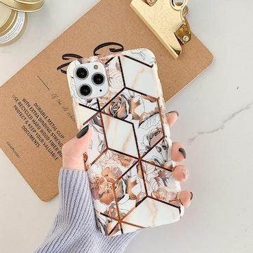 IPhone beige blommigt marmor skal/mobilskal